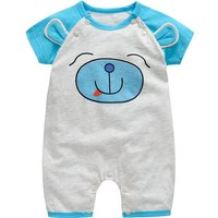 Playful Bear Print Short-sleeve Cotton Jumpsuit
