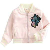 Girl's Stylish Embroidered Bomber Jacket