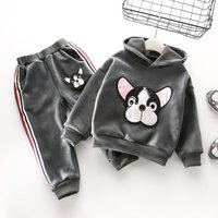 2-piece Appliqued Dog Fleece Lined Hooded Pullover and Pants for Baby Girl/Girl