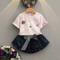 2-piece Trendy Floral Decor Stripes Tee and Bow Skirt for Toddler Girl