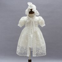 Baby Girl's Sweet Lace Embroidered Cardigan and Short-sleeve Dress Set in White