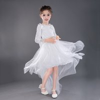 Elegant A-Line Hollow Out Lace Party Dress with Detachable Train for Baby Girl/Girl