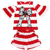 Pretty Striped Flare-sleeve Sequin Bowknot Top and Shorts Set for Girl