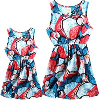 Mommy and Me Bright Color Block Sleeveless Dress