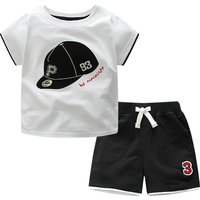 Trendy Cap Embroidered Short-sleeve Tee and Shorts Set for Baby and Toddler Boys