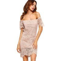 Sexy Lace Overlay Off-shoulder Dress for Women