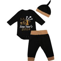 3-piece Letter Print Bodysuit Top,Contrast Pants and Hat Set for Baby and Toddler