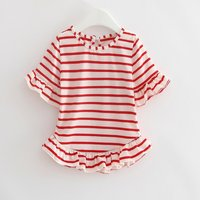 Flounce Sleeves Stripes Tee for Baby and Toddler Girls