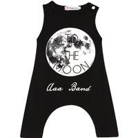 Moon Print Sleeveless Jumpsuit for Baby Boys