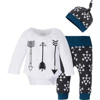 3-piece Arrow Print Long-sleeve Bodysuit, Geo Print Pants and Hat for Toddler