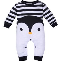 Cute Penguin Striped Comfy Long Sleeves Jumpsuit for Baby