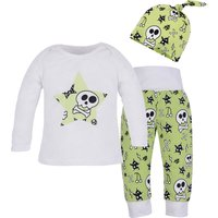 3-piece Funky Star and Scull Print Long-sleeve Shirt, Pants and Hat for Baby