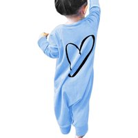 Stylish Heart Print Solid Cotton Pullover Jumpsuit for Baby