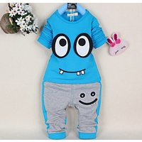 2-piece Funny Big Eye Cotton Pullover and Pants for Toddler/Baby