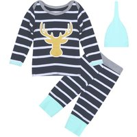 3-piece Reindeer Stripes Cotton Top, Pants and Hat for Baby