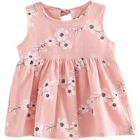 Pretty Flower Print Sleeveless Dress for Little Girls