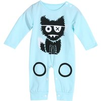 Funky Cat Print Long-sleeve Cotton Jumpsuit for Baby