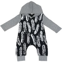 Baby's Feather Print Long-sleeve Blcak Hooded Jumpsuit
