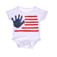 Comfy Handprint and Stripes Short Sleeves Bodysuit for Baby
