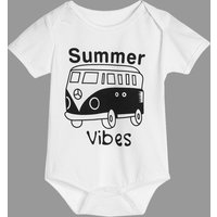 Cute Bus Graphic Bodysuit in White for Baby