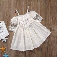 Lace Decor Slip White Dress for Baby Girls