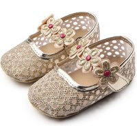Elegant Glitter Floral Decor Flats for Toddler Girl