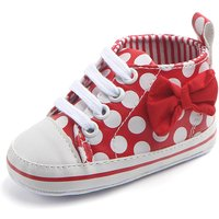 Pretty Polka Dotted Bow Decor Sneakers for Toddler Girl
