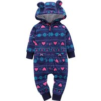 Infant/Toddler's Dark Blue Hooded Jumpsuit with 3D Ears