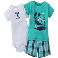 3-piece Cute Shark Print Comfy Set for Babies