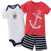 Cool Anchor Graphic T-shirt and Bodysuit and Shorts Set for Baby Boy