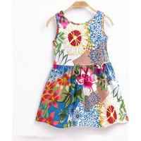 Vibrant Floral Sleeveless Bow Dress for Girl