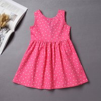 Bright Dotted Back Bow Dress in Pink for Girl
