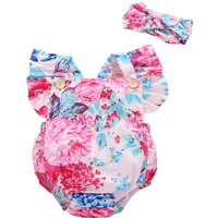 Comely Floral Print Bodysuit with Headband for Baby Girl