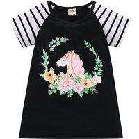 Toddler Girl's Pretty Short Sleeves Unicorn Print Dress