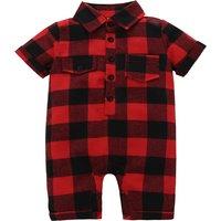 Stylish Shirt Collar Short-sleeve Plaid One-piece for Baby