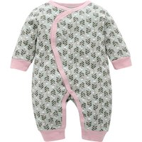 Stylish Leaf Printed Long-Sleeve Jumpsuit for Baby