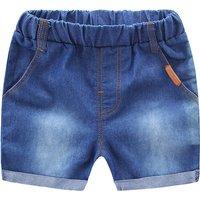 Stylish Washed Elastic Waist Denim Pants for Baby