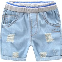 Stylish Ripped Elastic Waist Capri Baby and Toddler Denim Pants
