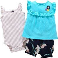 3-piece Stripes Ruffled Sleeveless Bodysuit Top and Floral Shorts for Baby Girl