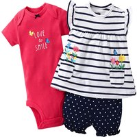 Lovely Letter Bodysuit and Striped Tunic and Dotted Shorts Set for Baby Girl