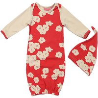 Trendy Floral Long-sleeve Pajamas Robe and Hat Set for Baby