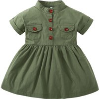 Vintage Ruffled Short Sleeves Shirt Dress in Green for Baby Girl