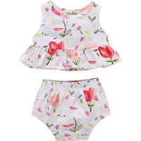 Pretty Flower Print Ruffle Hem Sleeveless Top and Shorts Set for Baby Girl
