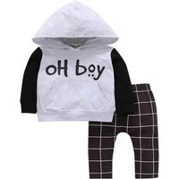 Casual BOY Print Hoodie and Plaid Pants Set in Grey for Baby and Toddler Boy