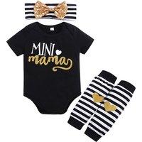 3-piece Letter Bodysuit Stripes Leggings and Sequin Bow Headband for Baby Girl
