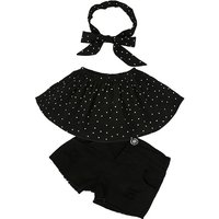 3-piece Lovely Off Shoulder Top,Denim Shorts and Headband Set for Baby Girl and Girl
