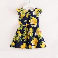 Lovely Lemon Print Ruffled Cap-sleeve Dress for Toddler Girl and Girl