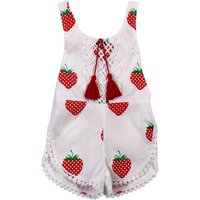 Pretty Plant Print Lace Trimmed Sleeveless Jumpsuit for Baby Girl