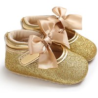 Elegant Glitter Bowknot Decor Crib Shoes for Toddler Girl
