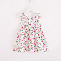 Charming Floral Pattern Sleeveless Dress for Baby Girl